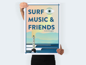 diseño de carteles surf, music and friends