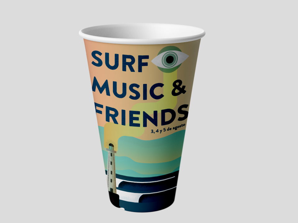 diseño de branding surf music and friends
