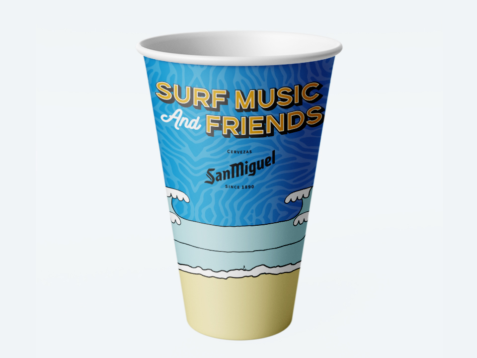 surf, music and friends diseño de vaso